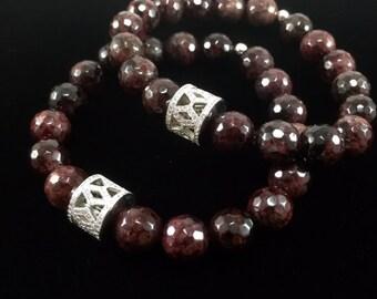 Garnet Bracelet/ Almandine/ Garnet/ Burgundy/ Red/ Gemstone/ bracelet/ January Birthstone/ Haute Couture/ Jewelry