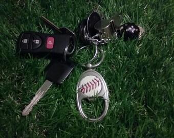 Baseball Keychain- Classic- Bottle Opener