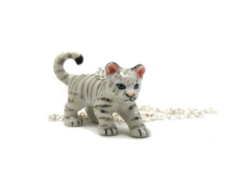 White Tiger Necklace, Charm Necklace, Charm Jewelry, Tiger Pendant, Tiger Jewelry, White Tiger Charm, Jewelry Gift, Wildlife Necklace
