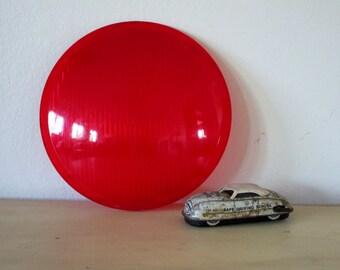 """Vintage Light Cover Red Plastic Red 12"""" Traffic Light Lens"""