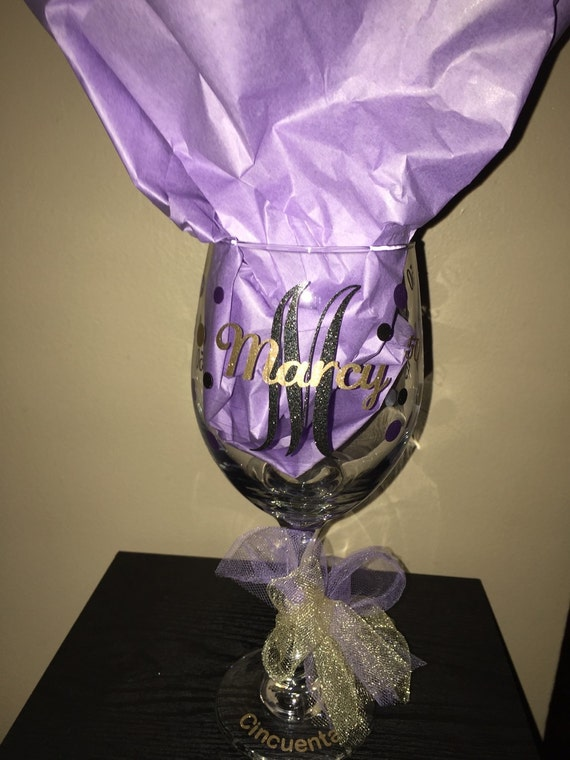 50th Birthday Wine Glass Friend Mother Sister Gift