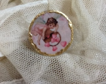 """Bone ring made of decoupage with gold leaf. """"Angels"""""""