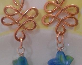 Copper Squiggles With Aqua Starfish E194