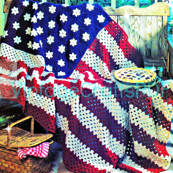 Crochet Pattern American Flag : Instant Download PDF American Flag EASY Crochet by VintageBeso