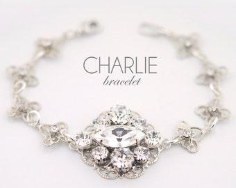 Swarovski wedding bracelet - vintage bridal bracelet - silver wedding bracelet - clear crystals - couture bridal bracelet - Charlie bracelet
