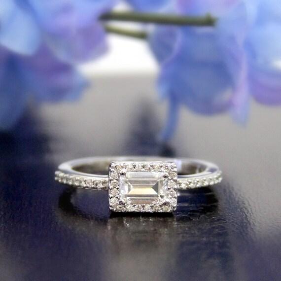 0 70 Ct Halo Engagement Ring Emerald Cut Diamond Simulants