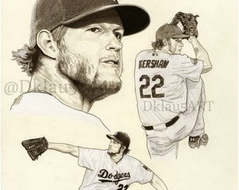 Clayton Kershaw fine art Limited Edition print from original charcoal drawing