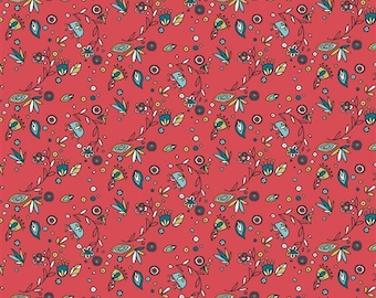 Birch Breezy Floral Organic Cotton Fabric Red Turquoise
