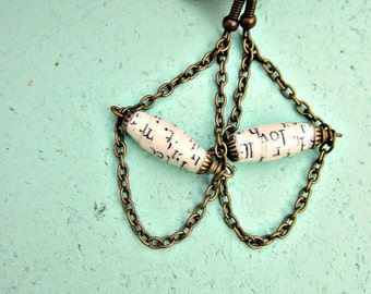 Rustic Brass Chain Chandelier Dangle Earrings featuring Cream Salvaged Paper Beads: Ashley
