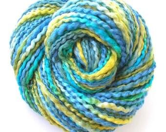 Handspun Yarn Hand Dyed Wensleydale Wool Silk Bulky Yarn 185 yards  Free Ship in USA Soft! Blue Green Yellow - Sea Breeze