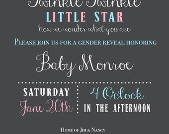 Twinkle Twinkle Gender Reveal Invitation (Printable)