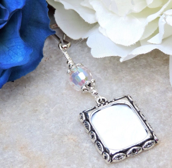 Wedding bouquet Photo charm with crystal for a bride's bouquet. Gift for the bride. Bridal bouquet charm. Wedding keepsake. Sister gift.