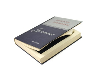 Hollow Book Box Brazilian Portuguese Grammar Language Vintage 1948 Blue Gray Medium Blue Liner Handmade Hand Cut Gift Box - READY TO SHIP