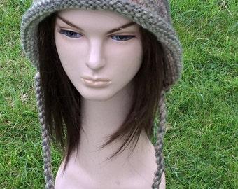 MISTY shades of green elf hood hand knit crochet in soft wool blend an irish granny unique creation