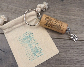 Castle Keychain in Pretty Gift Bag, Cork Graphics match Charm!