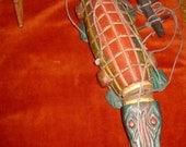 vintage Teak Wood Crocodile Marionette from the Karen Hill Tribe