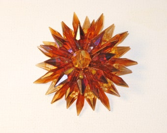 Vintage West Germany Iridescent Amber Lucite Starburst Brooch Pin (B-1-5)
