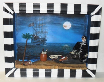 Pirate Skeleton Diorama - Pirate Wall Art - Shadow Box Assemblage - Pirates of The Caribbean Inspired Art - Gift for Him - Boys Room Decor