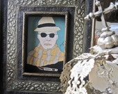 TRUMAN CAPOTE acrylic on board painting framed Pat Campbell Artist 1996