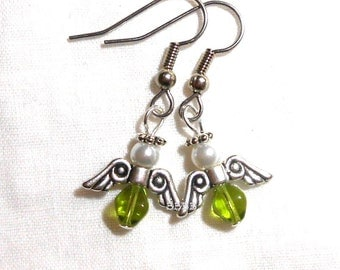 Silver and Olive Green Angel Earrings - Surgical Steel French Hooks  Saint Patricks Day Clover Green
