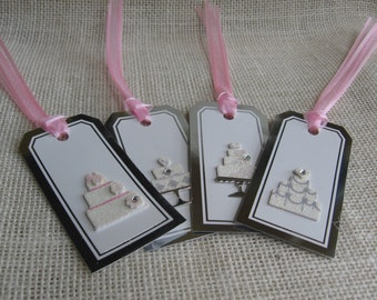 Wedding Cake Gift Tags, Set of 4, Silver and White Tags, Shower Gift Tags