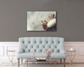 Extra Large Canvas Art Pale Misty Blue Brown White Macro Dandelion Photography Pale Blue Nursery Art Oversized Canvases Relaxing Bedroom Art