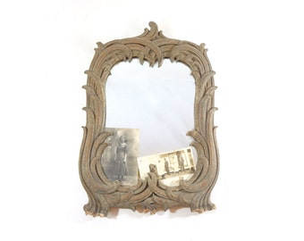 Vintage Gold Framed Wall Mirror, Antique Paper Mache Mirror, French Decor