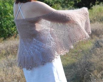 Hazelnut Wedding Shawl, Wedding Lace Shawl, Bridal Shawl in Frosted Almond, Hand Knit lace Shawl,