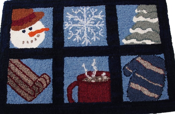 Hand Hooked Rag Rug - Winter Windows Wool