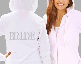 Bride Hoodies - Modern Rhinestone Bridal Hoodie, Bridal Hoody, Bridal Gift, Bridal Party Hoodie, White Bride Hoodie, Black Bride Hoodie,
