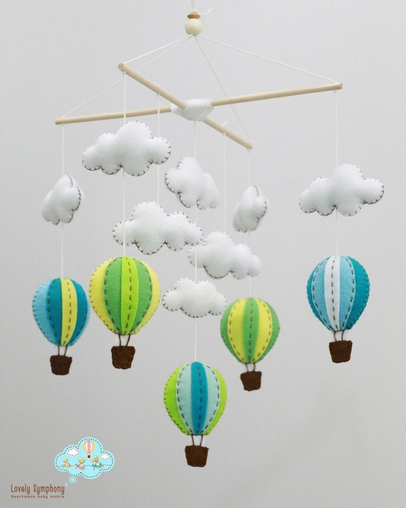 Up in the air - Blue and green hot air balloons mobile - Hot air balloons baby mobile - up in the sky- whimsical baby mobile, bright colors