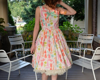 Root Vegetable Print Dress in White, Pink, Orange, Green & Mint / Vegetarian Dress