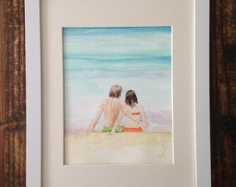 Watercolor of Couple on The Beach, Honeymooners, Island Vacationers, Caribbean Water and Sand
