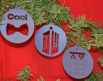Doctor Who Inspired Christmas Ornament set (DR WHO, Bow Ties are Cool, TARDIS, Dalek, Cyberman, Weeping Angel )