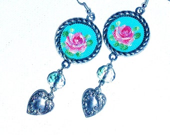 Rose Dangle Earrings Hand Painted Turquoise Blue Romantic Heart Jewelry