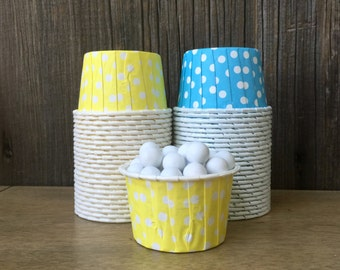 Blue and Yellow Paper Snack Cups - Set of 48 - Polka Dot Candy Cup - Birthday Party - Mini Ice Cream Cup - Paper Nut Cup - Same Day Shipping