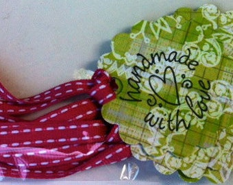 Handmade with love tags - green and pink