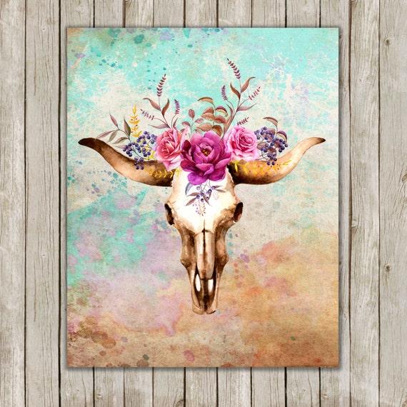 8x10 Watercolor Bull Skull Printable Art Skull Poster Boho