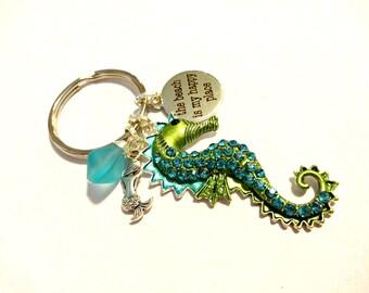Seahorse Keychain, Sea Glass Keychain, Beach Keychain, Beach is My Happy Place Key Ring, Aqua Blue Sea Glass Pendant Key Chain