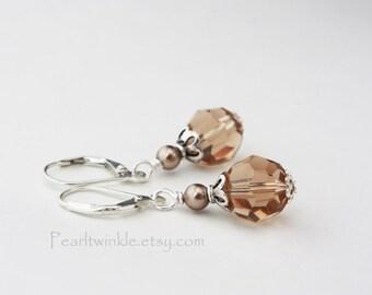 Bronze Swarovski Crystal Earrings, Bronze Topaz Swarovski Earrings, Gift For Her under 30, moter's day, Brown Crystal Earrings, Sterling