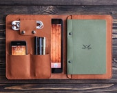 iPad leather folio. iPad and document organizer. iPad case.