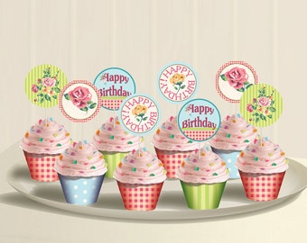 Shabby Chic Birthday Party Theme -  Garden Party Cupcake Toppers and Wrappers Printable  - Instant Download
