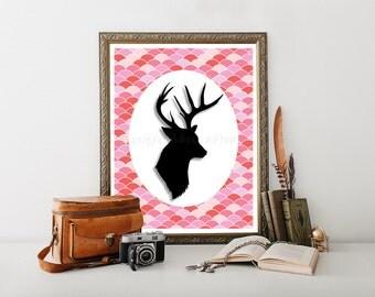 Deer Head Printable, Deer Decor Download Print, Deer Decor Digital Download, Deer Head Cabin Decor Deer Decor Head Deer Decor Printable 0219