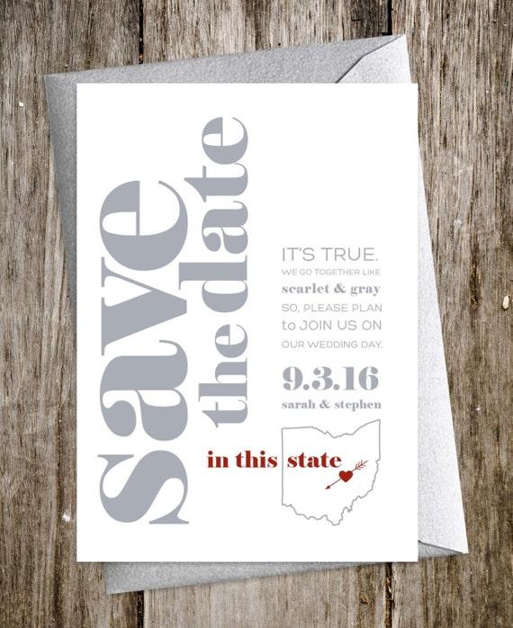 collegiate modern wedding invitations ohio state columbus skyline