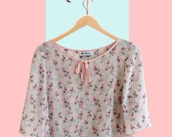 vintage blouse,handmade clothing,pink blouse,all over print blouse,bird blouse,flamingo bird pattern, women's clothing,