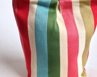 Bold stripe cosmetic bag / zipper pouch