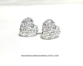 Silver Heart Earrings Surgical Steel Stud Post USA 14mm Not Glitter Sparkle Acrylic
