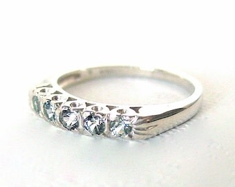 Gray Sapphire Anniversary Band Sterling Silver Size 7