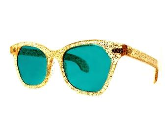Glitter Cat Eye Sunglasses, MINT 1950s Rockabilly Cateye Sunglasses, Estate Sale Vintage Gold Glitter Cateyes, Turquoise Lenses