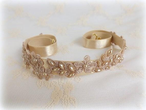 Lace and pearls bridal elastic waist belt. Floral lace belt. Champagne/ Ivory/ White Dress belt.
